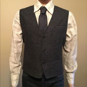 Dkny Jeans M wool blend cotton lined charcoal vest